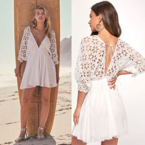 FREE PEOPLE ~ BELLA NOTE EYELET DRESS ~ L ~ $128